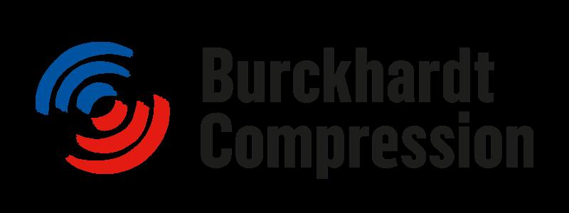 «Burckhardt Compression»-Logo bestehend aus schwarzem Schriftzug sowie blauen und roten Kreissegmenten